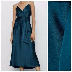 Zara Dresses - NWT. Zara Dark Green V-neck Midi Dress. Size L.